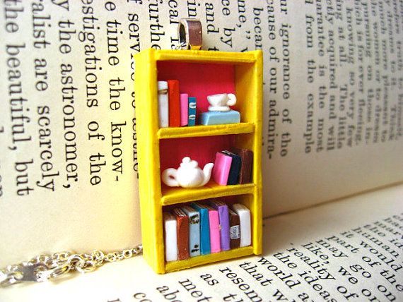 Spot of Tea - Tea Shop Bookshelf Necklace - Book Jewelry by Coryographies (Made to Order)