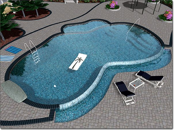 Infinity Edge Pool, With Catch Basin Surrounded By Pool Deck