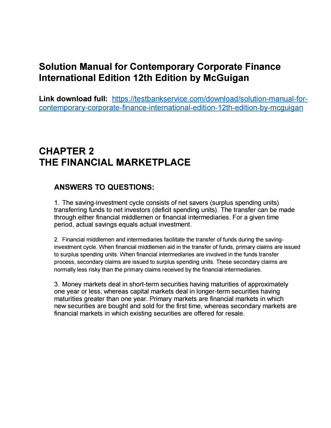 solution manual for contemporary corporate finance international rh pinterest com Engineering Solutions Manual Principles of Manufacturing Processes Metal Solutions Manual
