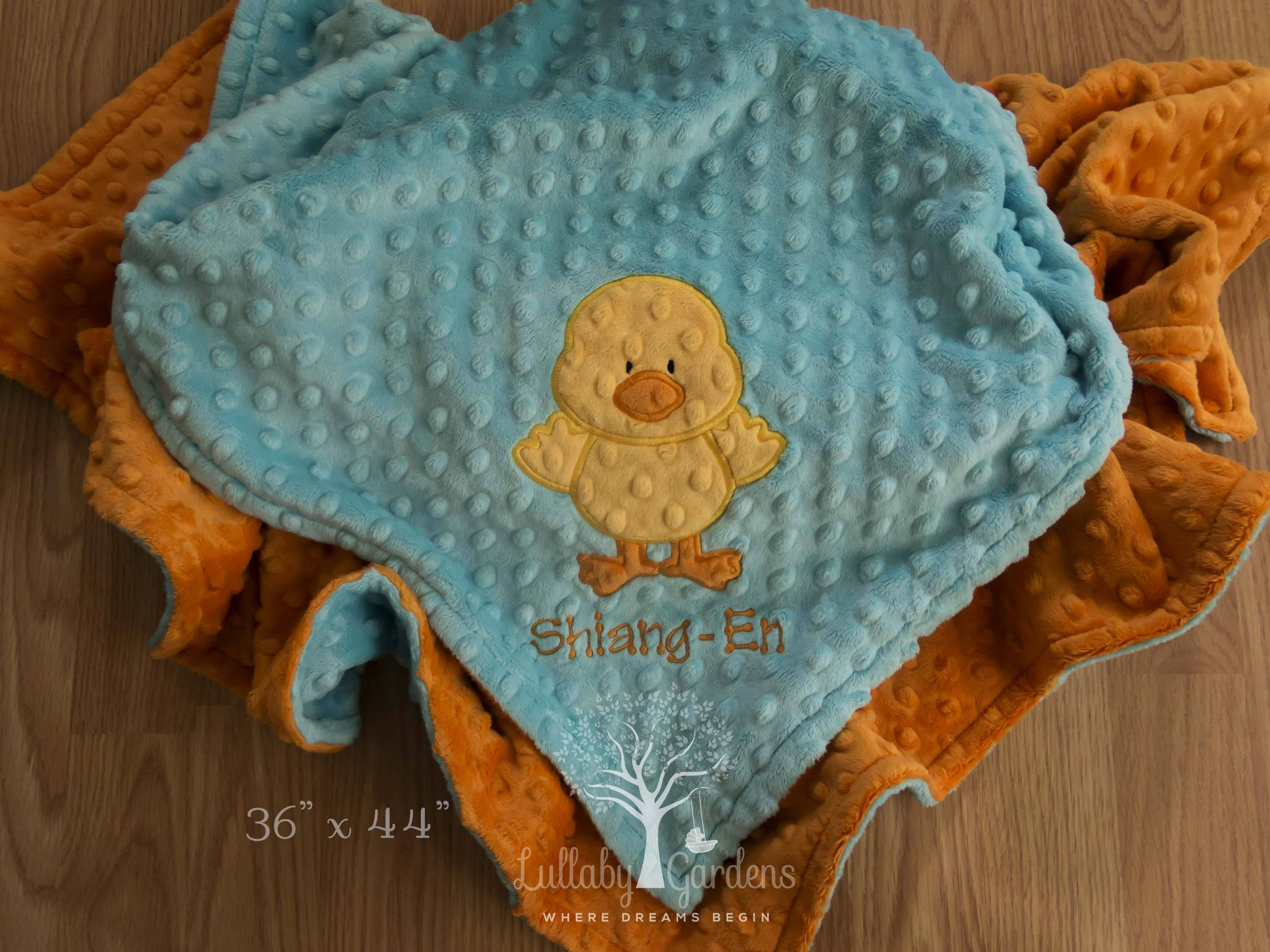 Personalized appliqued chick baby blanket 36 x 44 personalized personalized appliqued chick baby blanket x personalized minky baby blanket personalized baby gift custom appliqued baby blanket by lullabygardens on negle Gallery