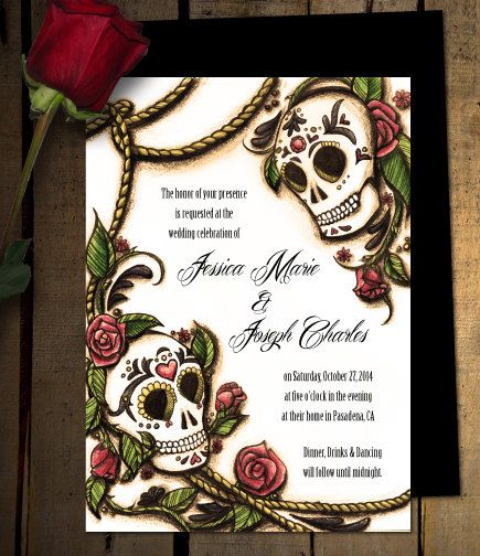 Dia De Los Muertos Sugar Skull Wedding Invitations Or Save The Dates