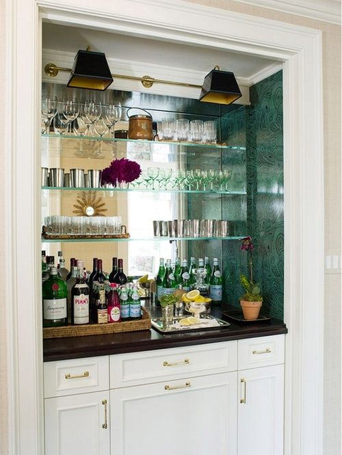Lovely Built In Bar With Mirrored Wall, Glass Shelving, Wood Countertop, White  Cabinet