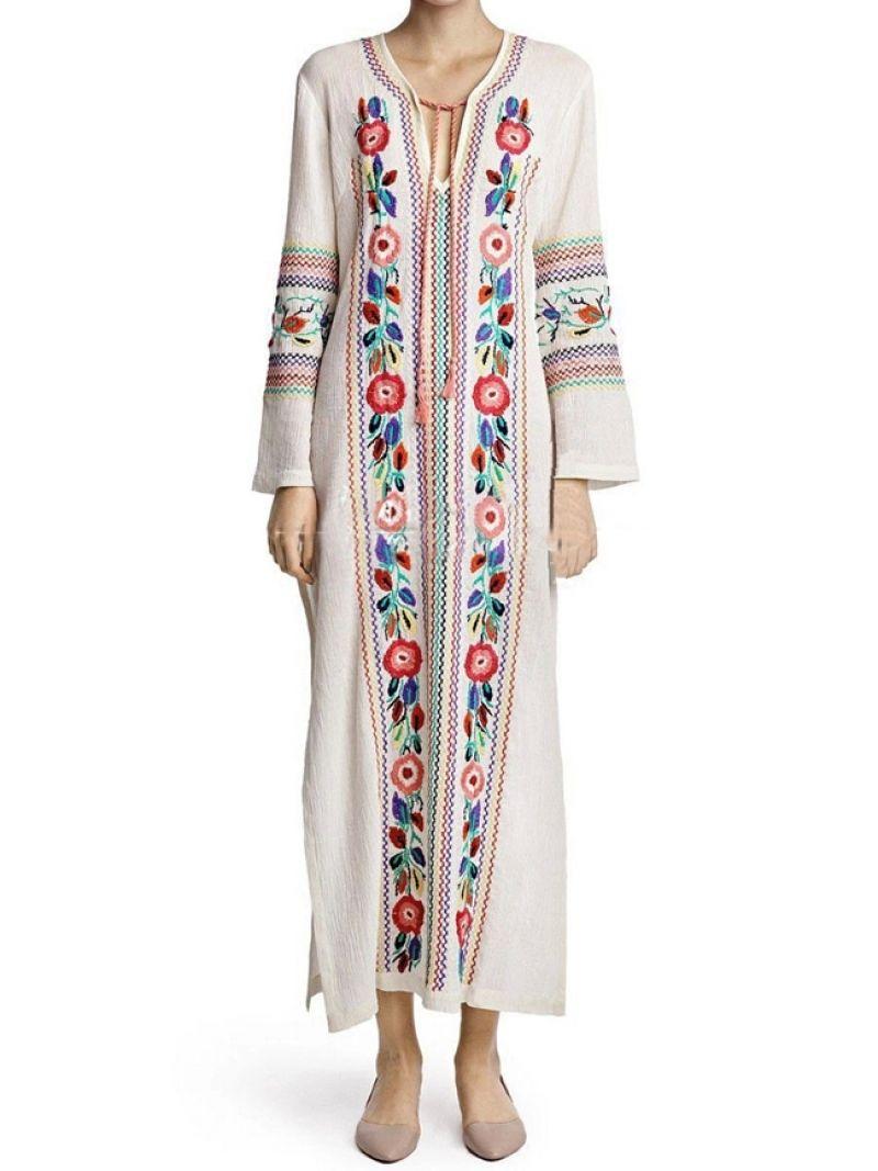 1d2b4f9578 White Tie-neck Tribal Embroidered Split Dress -SheIn(abaday)