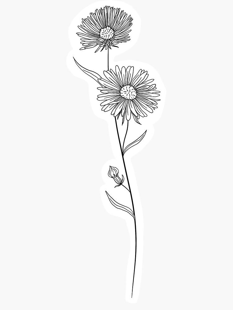 September Birth Month Flower Aster Sticker By Ekwdesigns In 2020 Birth Flower Tattoos Simple Flower Tattoo Birth Month Flowers