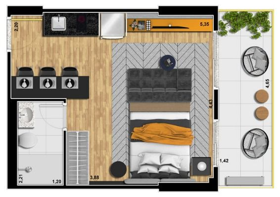 plan appartement 33m2