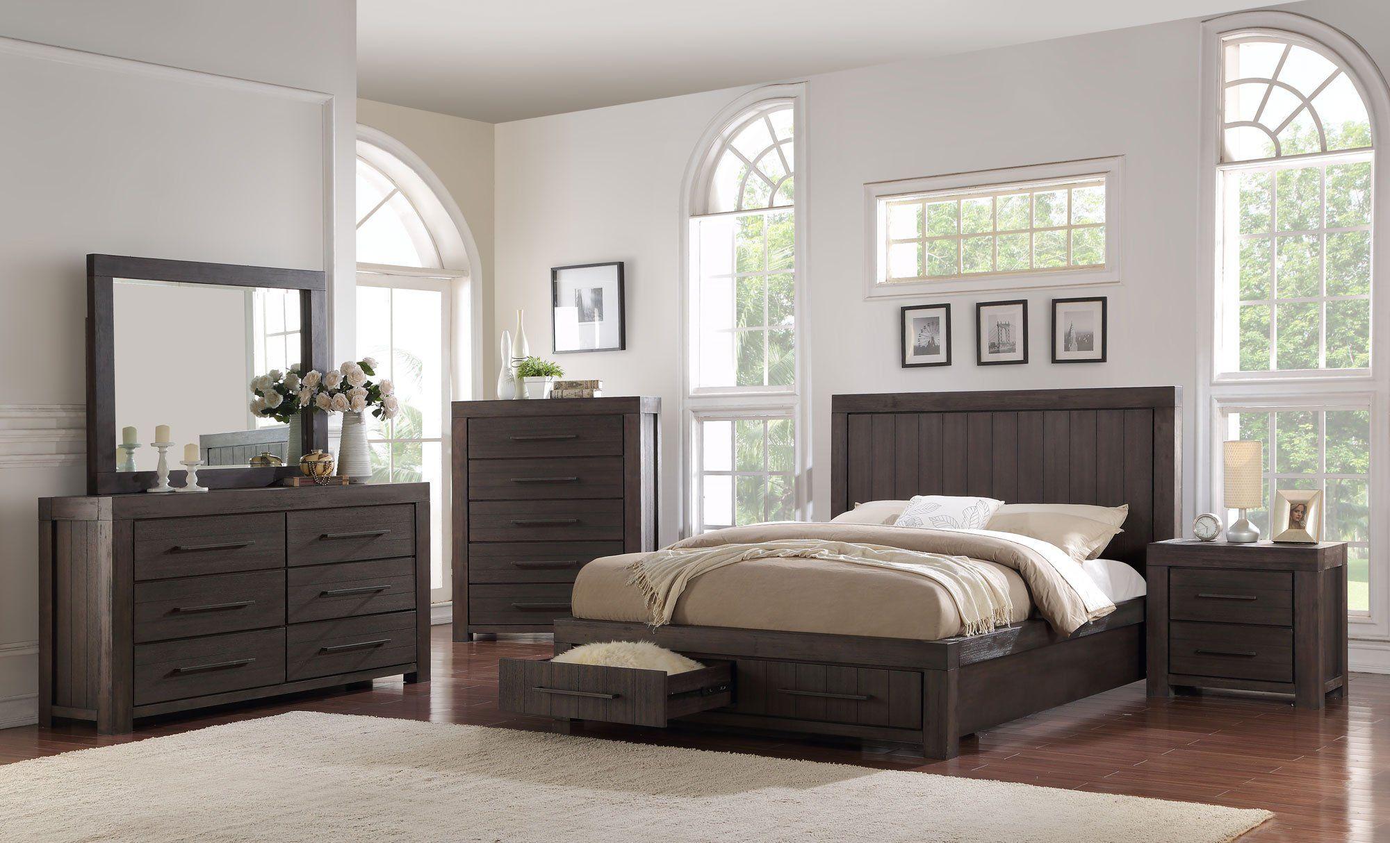 Casual Classic Basalt Gray 4 Piece Full Bedroom Set