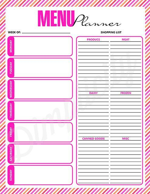 Printable Weekly Menu Planner with Shopping List FP Time
