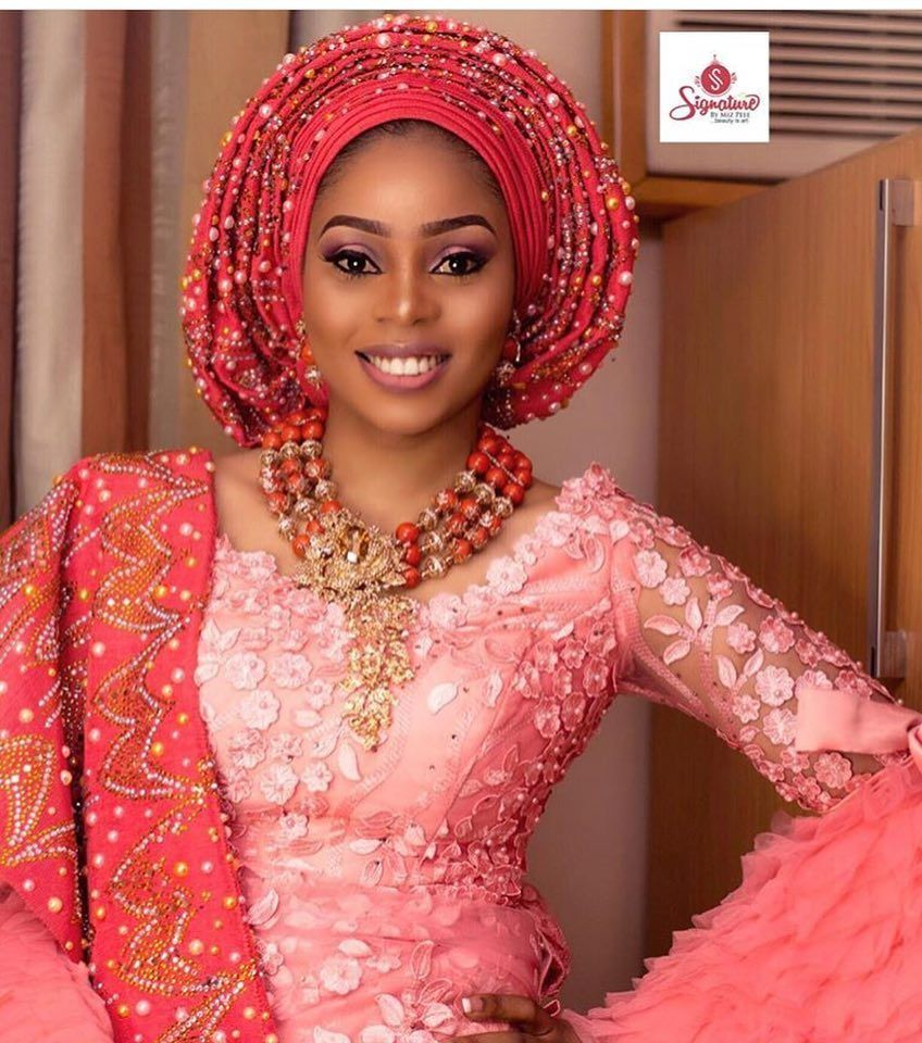 Dashing bride in the most beautiful peach and coral I\'ve ever seen ...