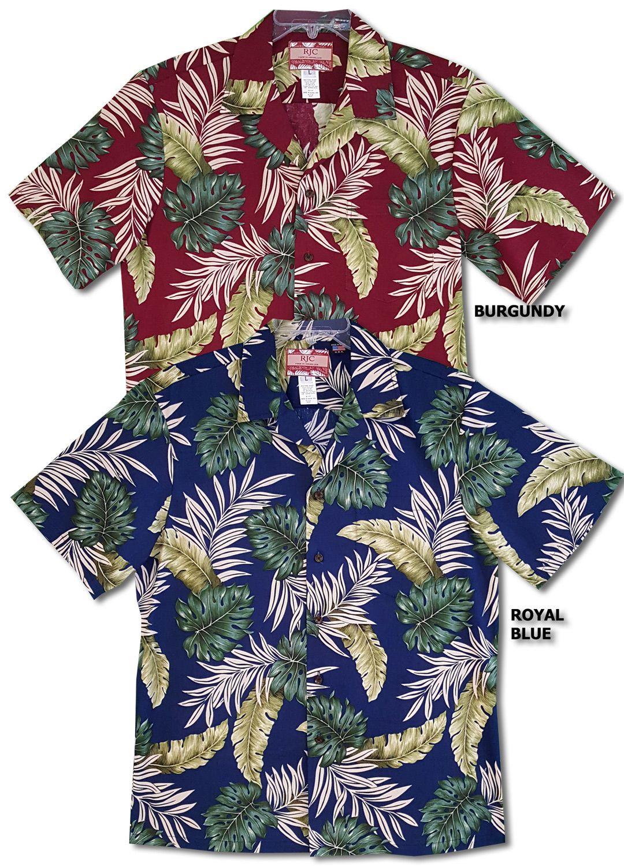 a7b8e6ba4 Made in Hawaii, Monstera Fern Aloha shirt, Men's Hawaiian (RJC) R. J.  Clancey Shirt created in Royal Blue, Black and Burgundy. MauiShirts search  box stock ...