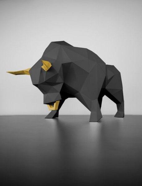 Stier Schwarz Gold Papier Tiere Papierskulptur Papierskulpturen