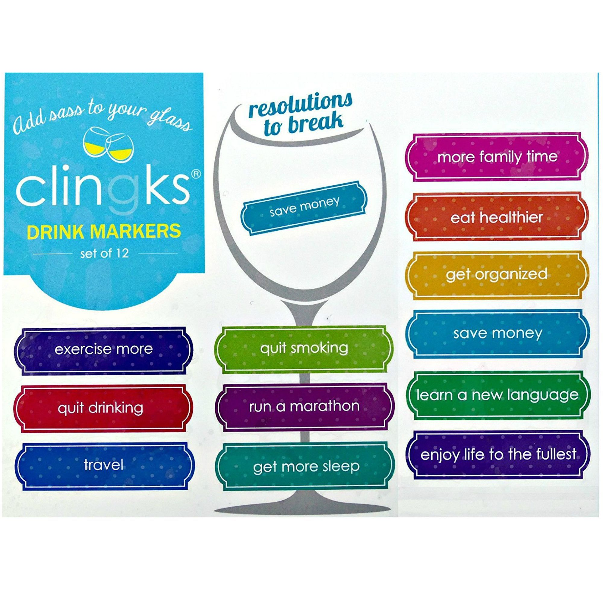 Clingks 12 Drink Markers - Resolutions To Break