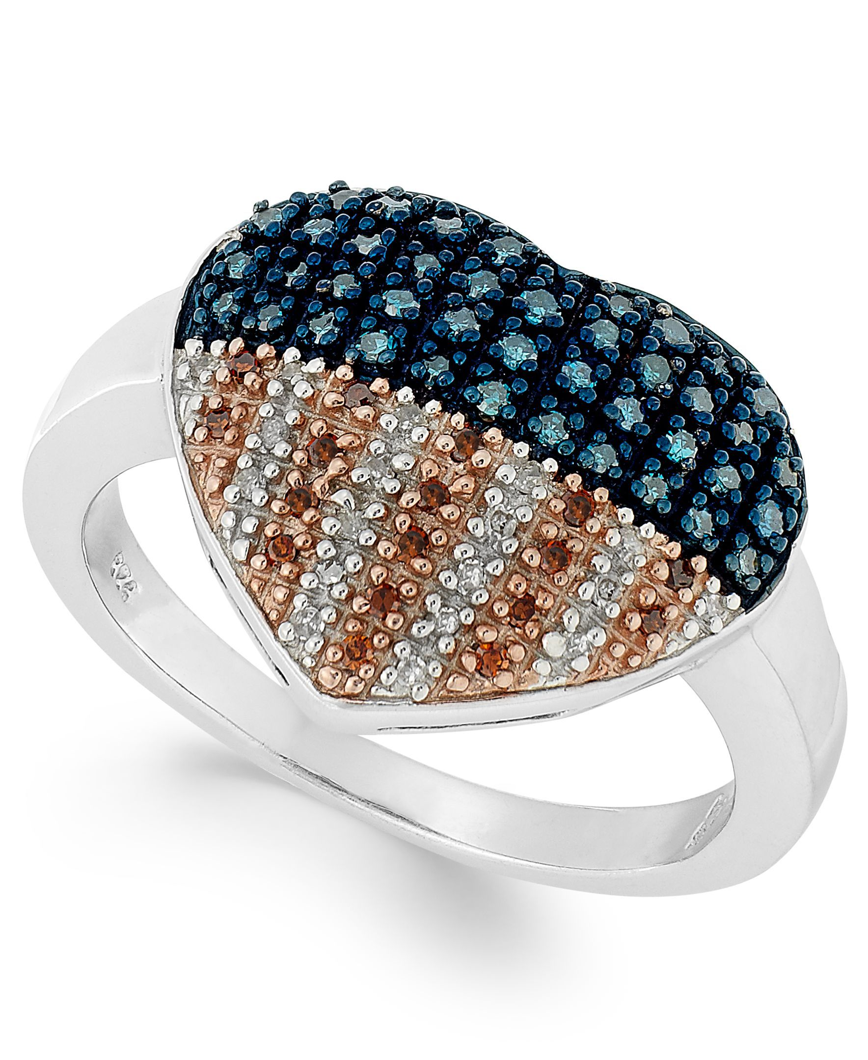 Stelring silver ring diamond and diamond accent flag heart ring