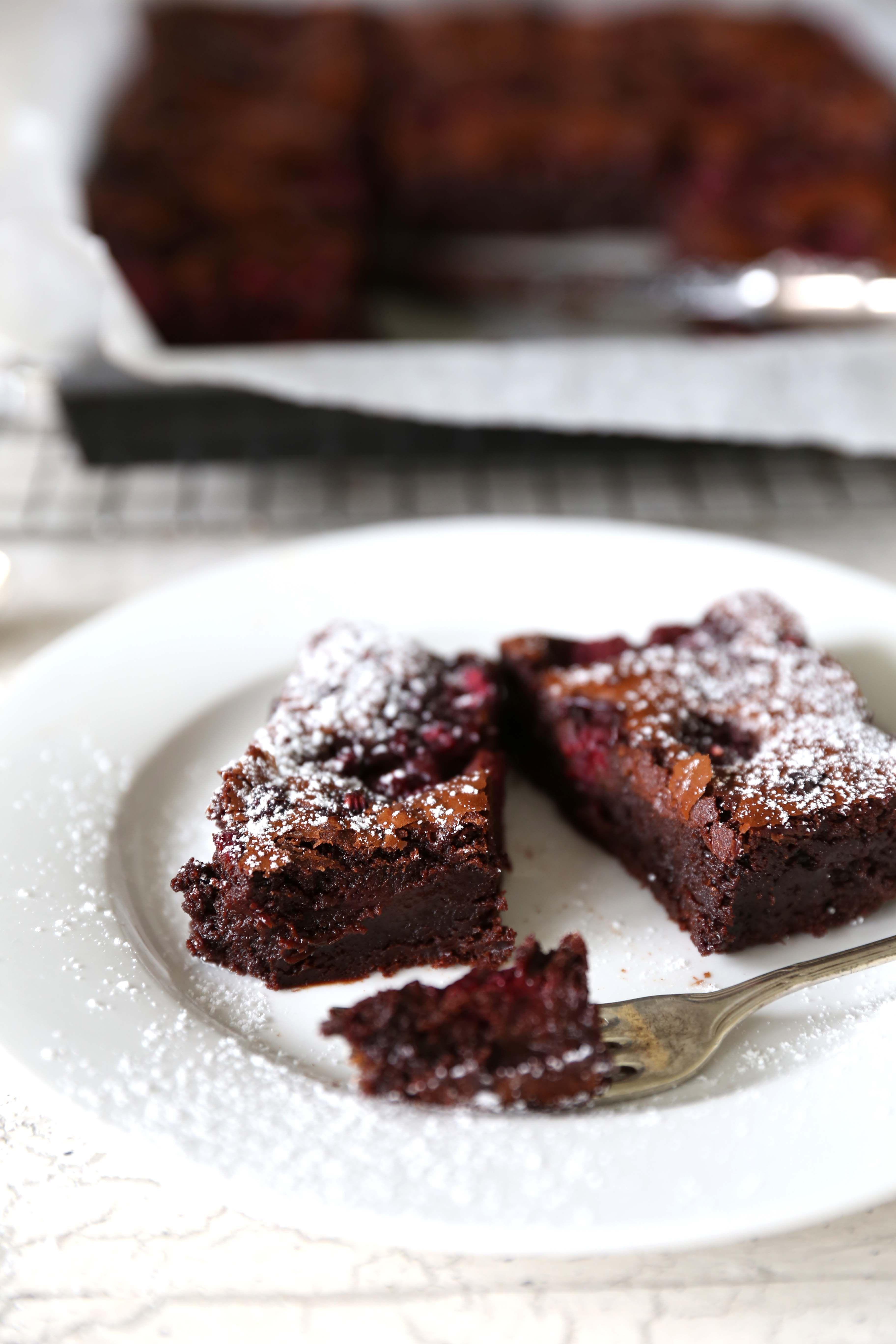 Decadent dark chocolate & raspberry brownie 2- swoon food.com