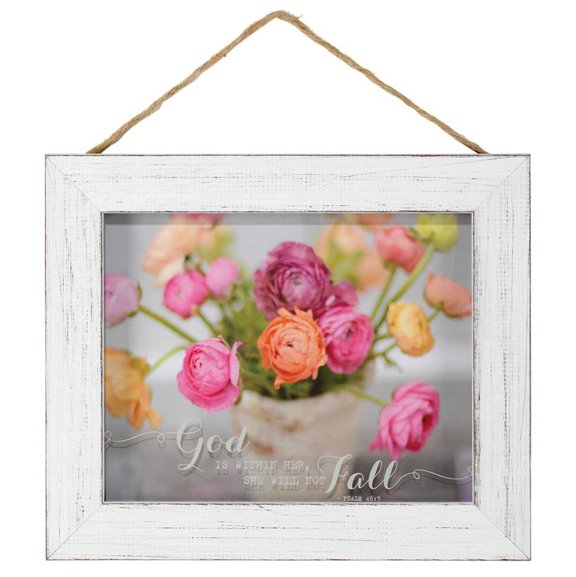 God Is Within Her Coloful Ranunculus Flowers Sign Plaque Wall Art 10 X 12 Wood Frame White In 2020 Ranunculus Flowers Wall Plaques Frame