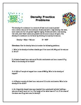 Density Practice Problems Science Classroom Teaching Worksheets