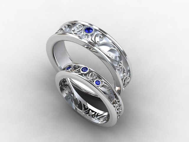 Wedding Band Set White Gold Sapphire Wedding Band Mens Sapphire