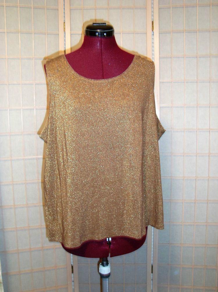 bf7934be0d2 Elegant Susan Graver Sz 1X Women s Metallic Gold Shimmer Knit Tank Top   SusanGraver  KnitTop
