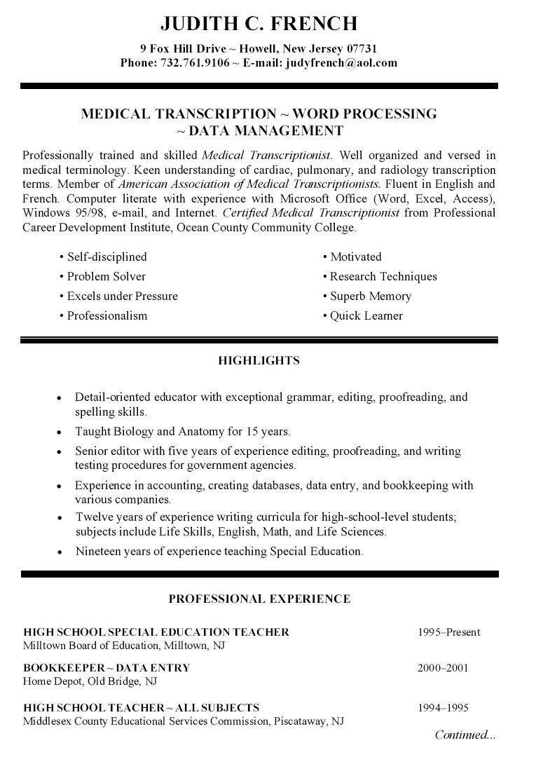 Blue Collar Resume Templets Teacher Resume Examples Education Resume Teacher Resume