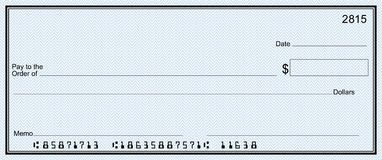 Large Bank Check With False Numbers Royalty Free Stock Photo With