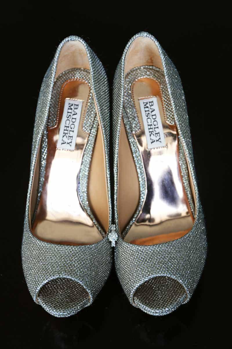Silver Badgley Mischka Bridal Shoes Elegant Plum and Orange