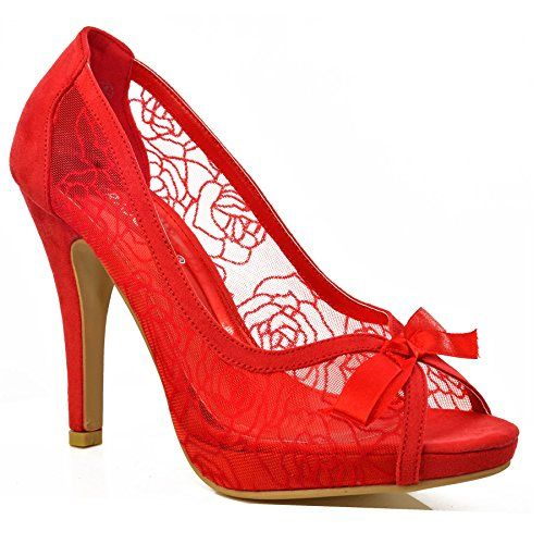NEW Ladies Womens Floral Lace Embellished Mid High Heel Peep Toe Bow Shoes Size[Red,UK 7 / EU 40 / AU 8 / US 9,Cute bow, FantasyShoes http://www.amazon.co.uk/dp/B00LBYA4O6/ref=cm_sw_r_pi_dp_Vy5Kwb19A2A18