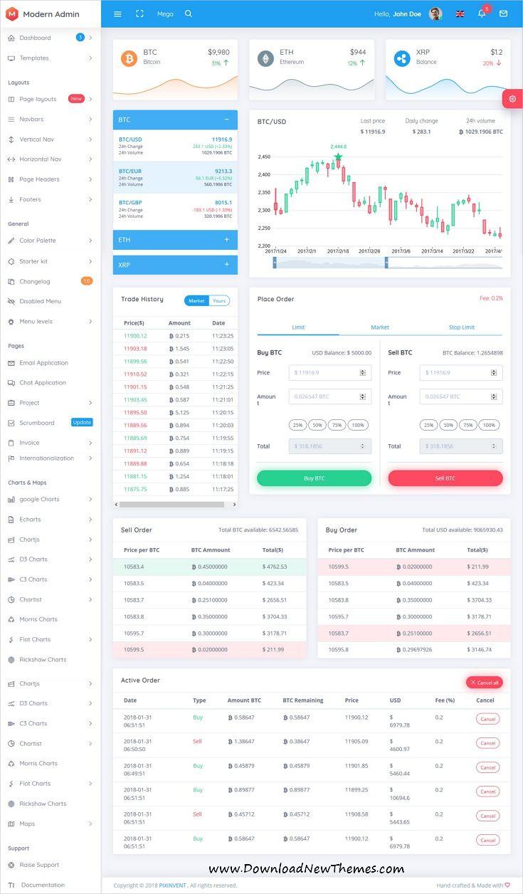 Modern Admin - Clean Bootstrap 4 Dashboard HTML Template + Bitcoin ...