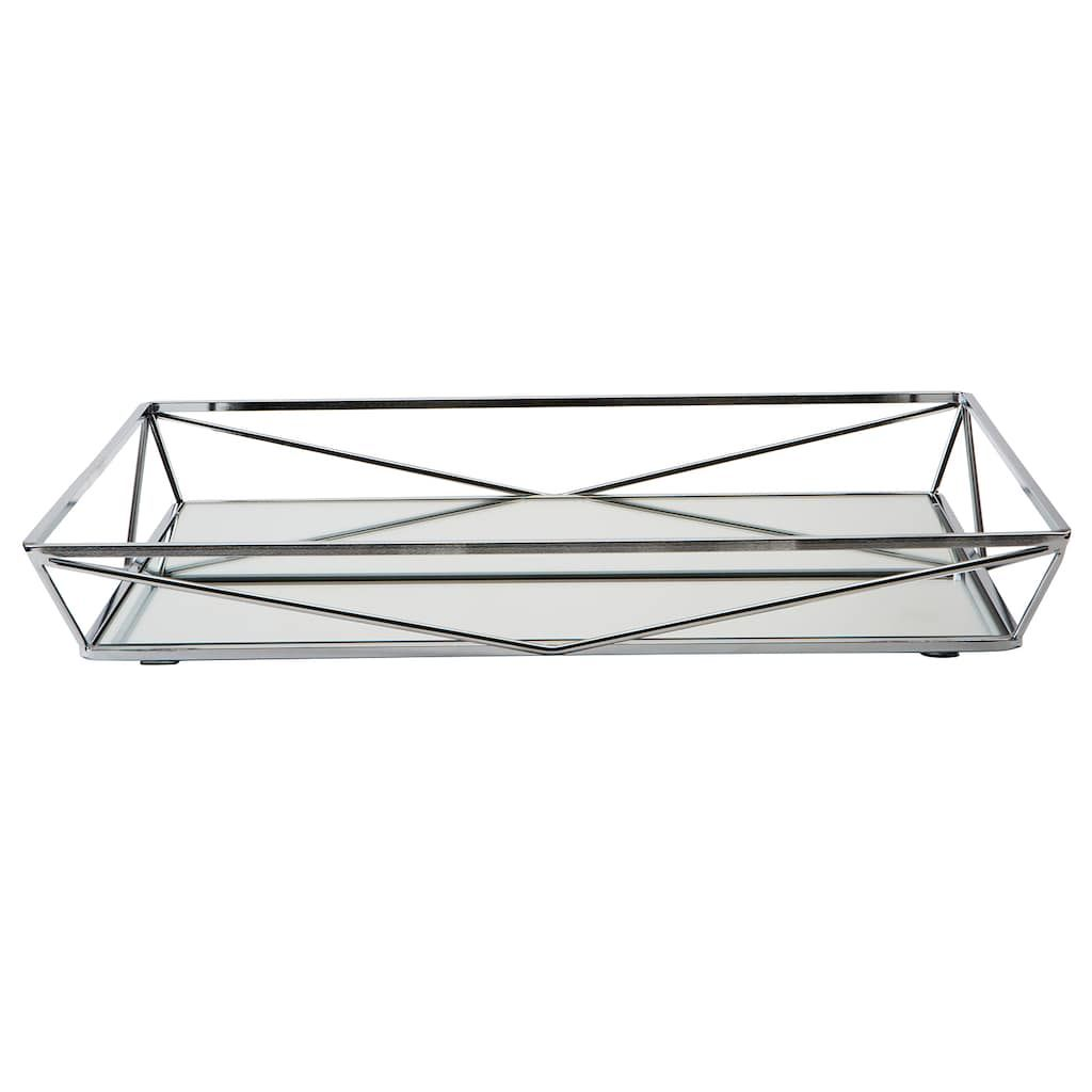 Home details geometric mirrored vanity tray grey chrome