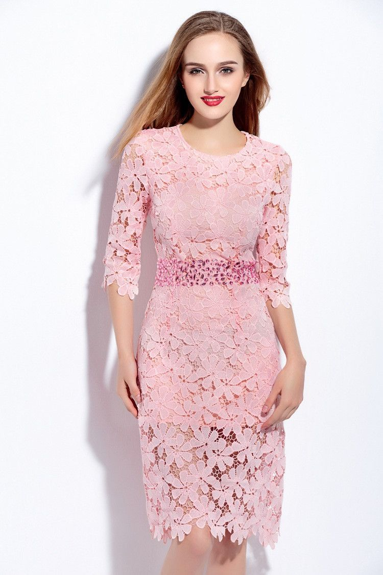 High Quality Womens Spring Summer Pink White Crochet Lace Diamond ...