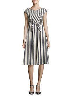 Lafayette 148 New York - Ximena Striped Tie-Waist Dress