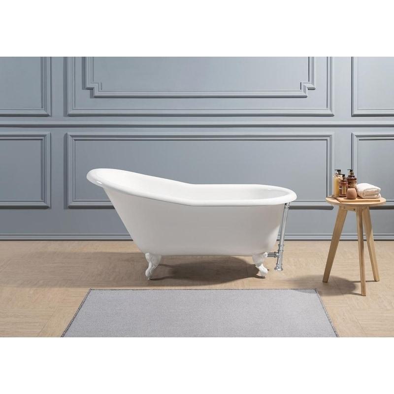 60 Cast Iron Soaking Clawfoot Tub With External Drain White 60 To 65 Inches Streamline Clawfoot Tub Soaking Bathtubs Bathtub