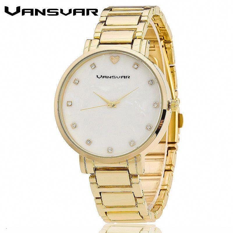 2e73c0ea0fb VANSVAR Stainless Steel Women Wrist Watch Mother of Pearl Dial Watch Gold Watch  Luxury Quartz Watch Relogio Feminino 1573  bestwatchesforwomen