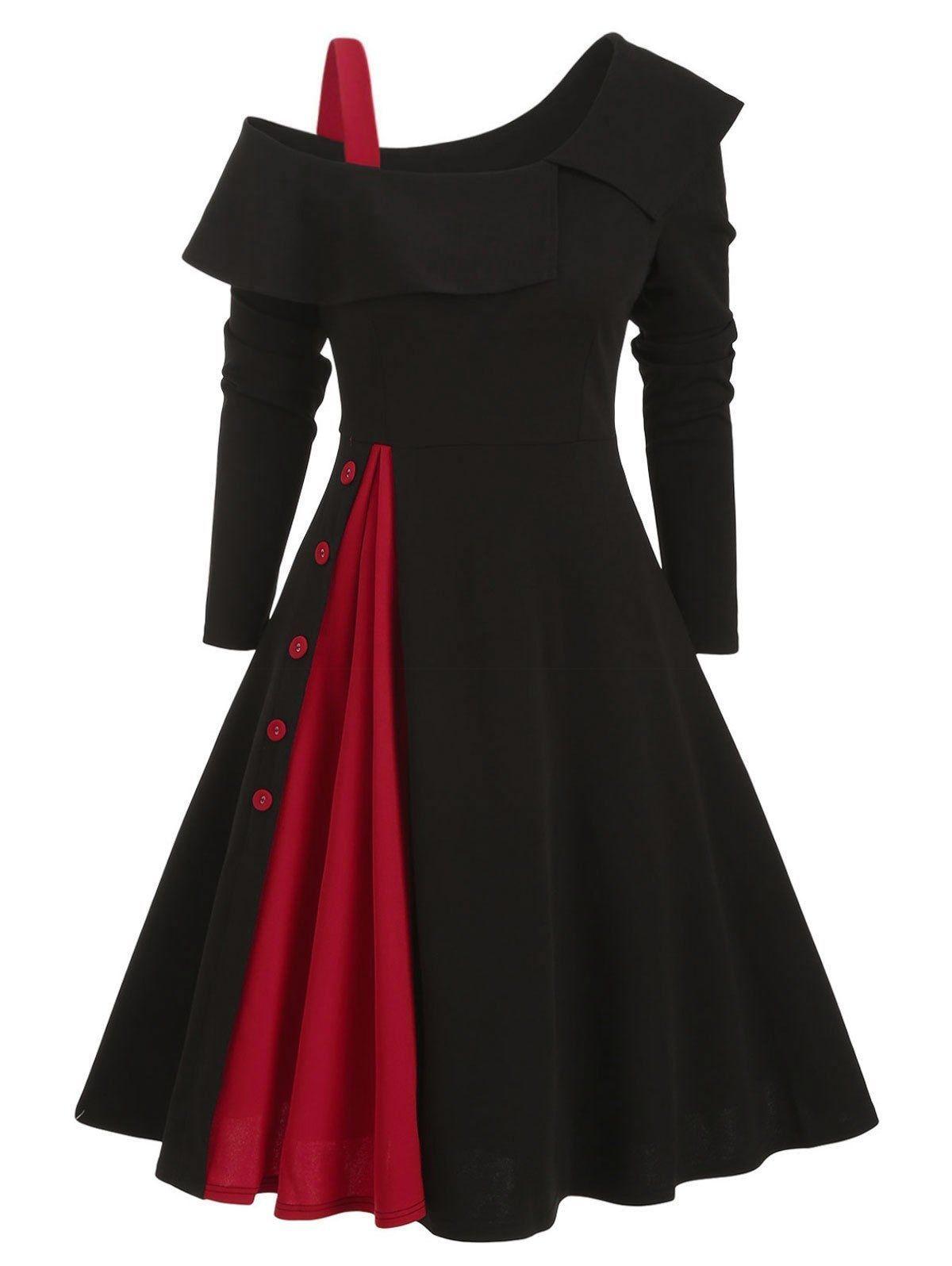 Dresslily Com Photo Gallery Skew Neck Button Embellished Colorblock Dress Dresslily Com Photo Gallery In 2020 Fashion Dresses Pretty Dresses Beautiful Dresses