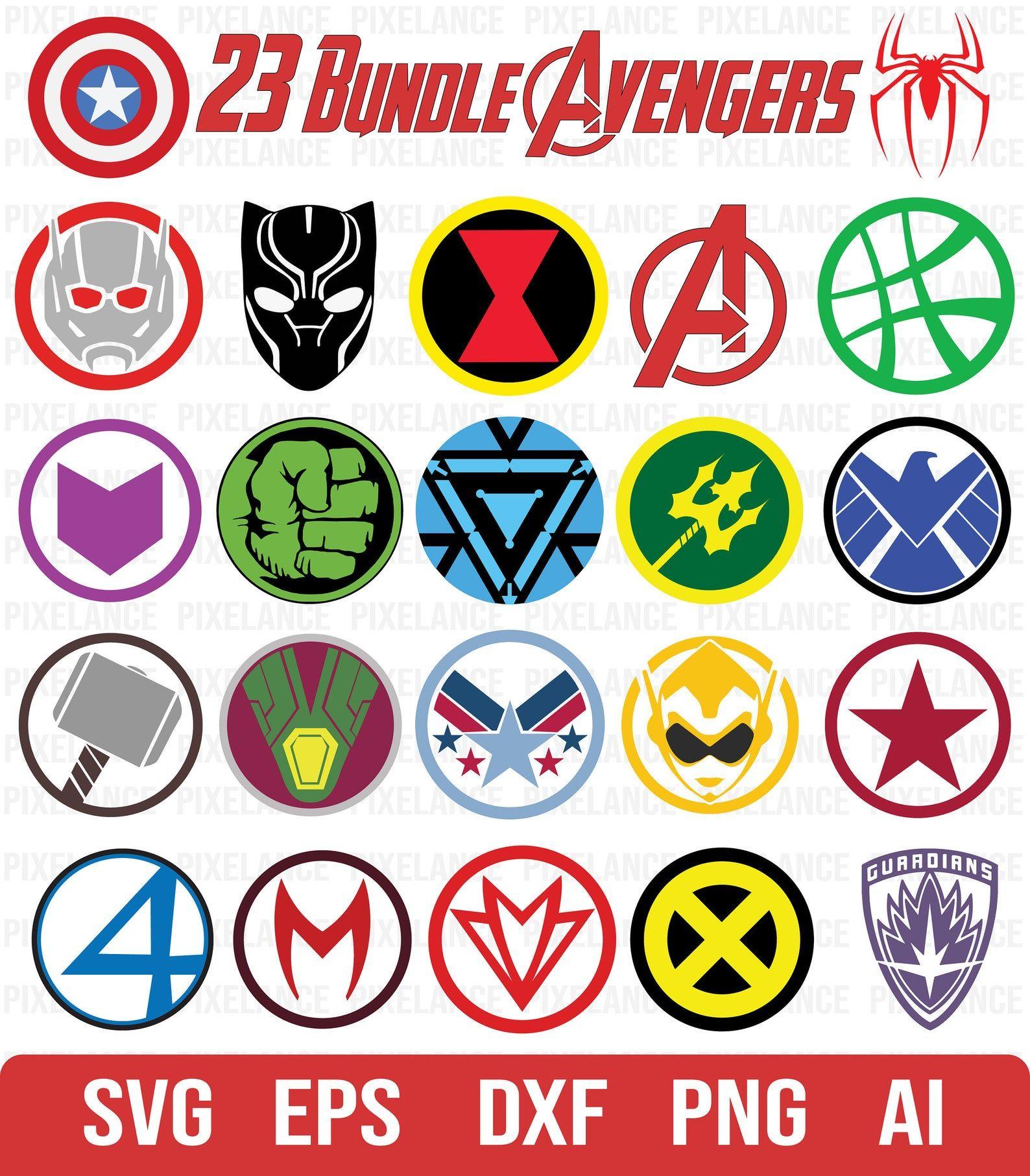 ALL Avengers Logo SVG, Avengers Logo Vector, Superhero