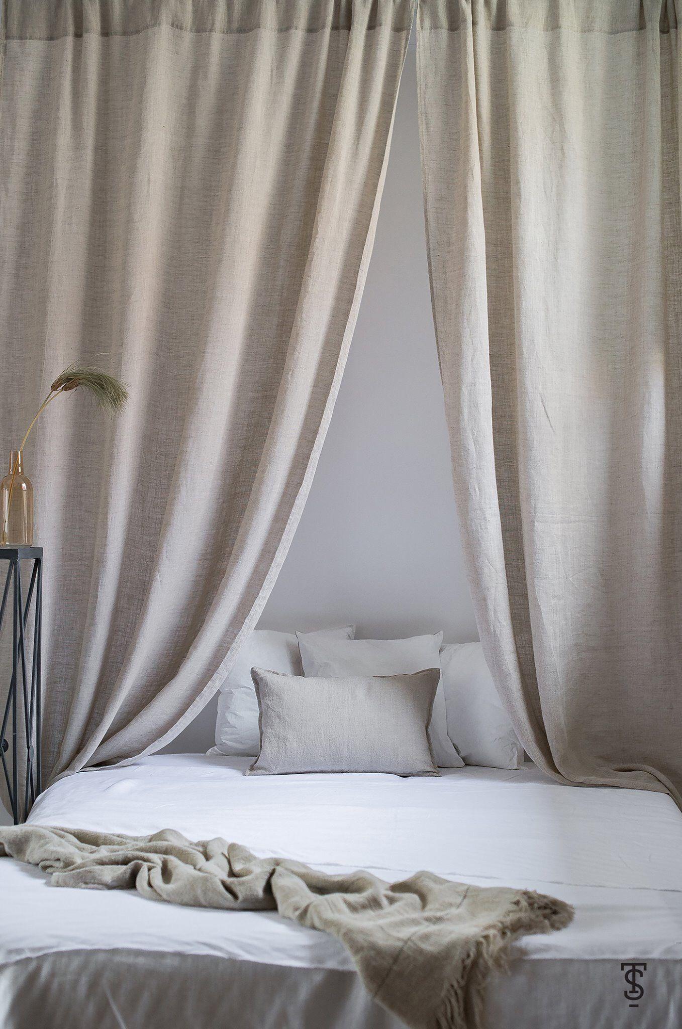 Lekka Przezroczysta Lniana Firana Linen Curtains Rod Pocket Curtains Canopy Bed