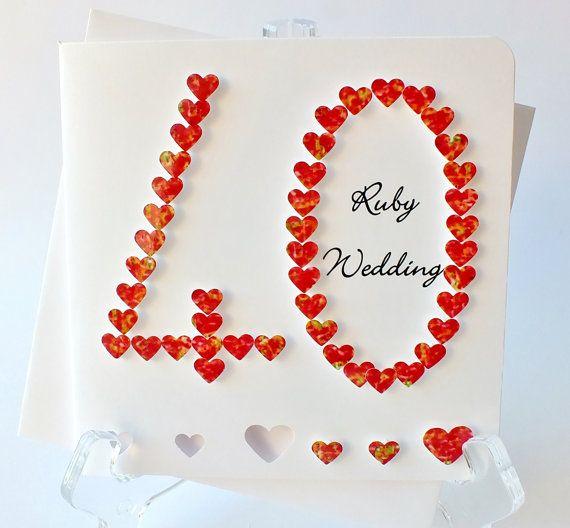 Handmade 3D 40th Ruby Wedding Anniversary Card by CardsbyGaynor, £3.95