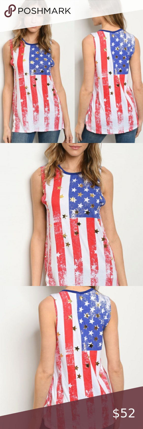 Gold Stars New American Flag Tank Top American Flag Gold Stars Tank Top Ladies Womens Wear True To Size In 2020 Top Fabric American Flag Tank Top Tank Tops Women