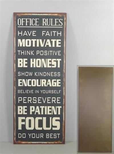 Leuk metalen tekstbord voor op kantoor.Te bestellen via de webwinkel: www.hethippehuis.nl