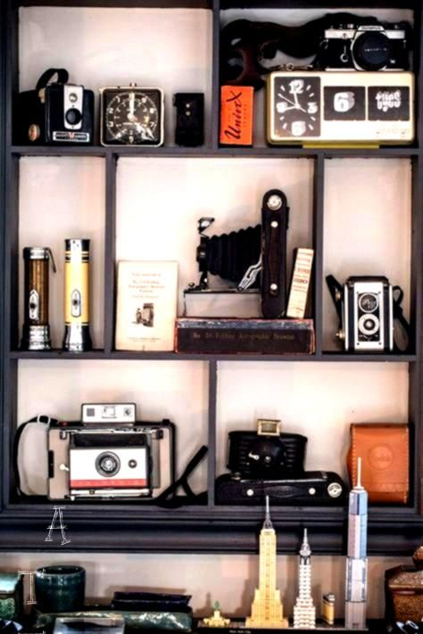 Tiny Townhouse in Brooklyn for Two History Lovers  A Tiny Townhouse in Brooklyn for Two History Lovers   Shelf for my dads old cameras Room Tour An Elegant Gentlemans Stu...