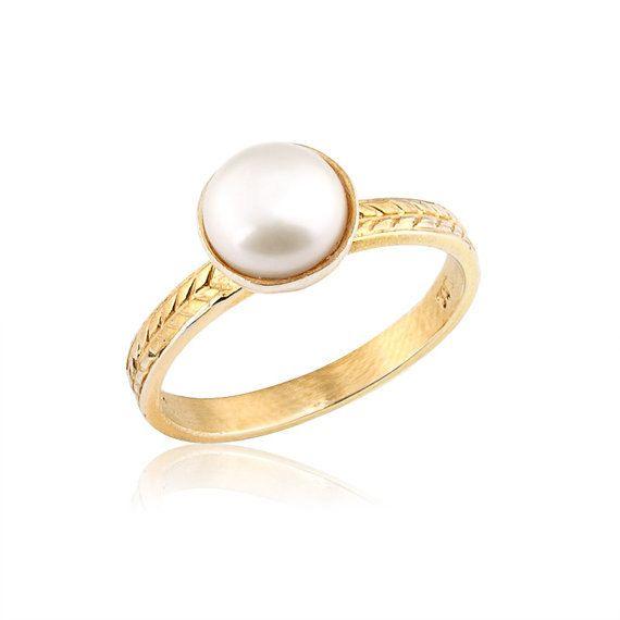 Vintage Stil Perle Verlobungsring 14 K Gold Elegante Verlobungsring