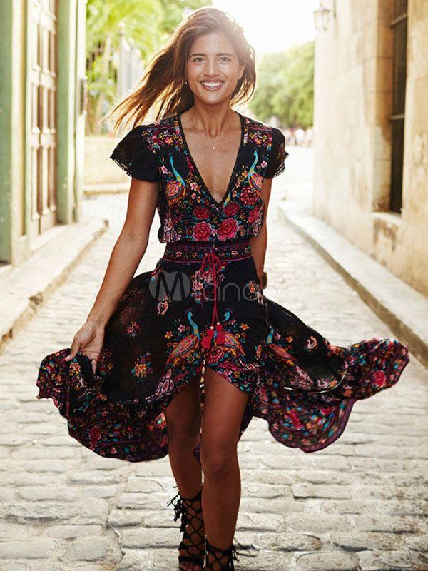 Robe De Soiree Boho Robe Champetre Robe Longue Manches Courtes Col V Boho Summer Dresses Retro Vintage Dresses Casual Dresses