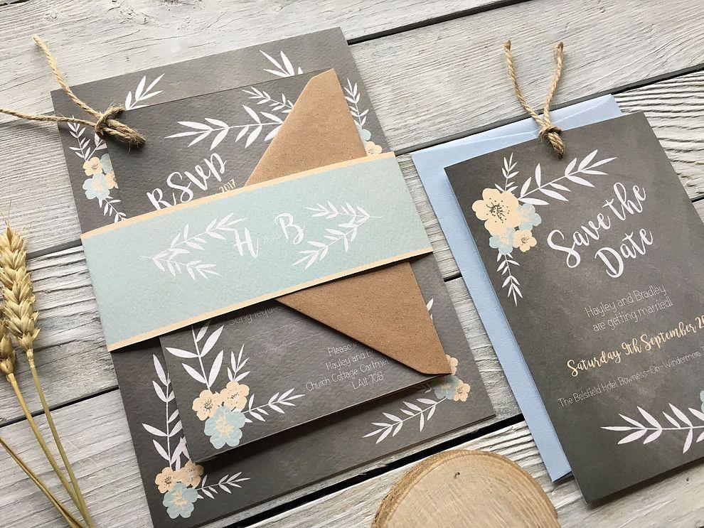 Rustic Wedding Invitation Ideas - Floral Chalkboard Wedding ...