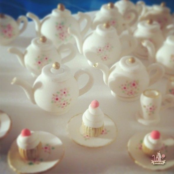 Tea pot and tea cup cupcake toppers by sweetopia j for Cup decorating ideas