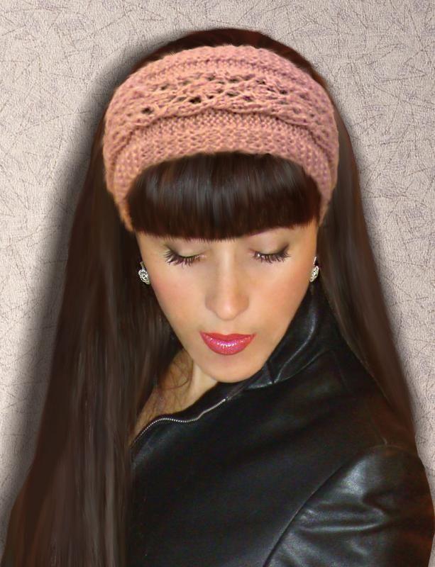 вязаная повязка на голову нежный розовый за 250 грн вязаные