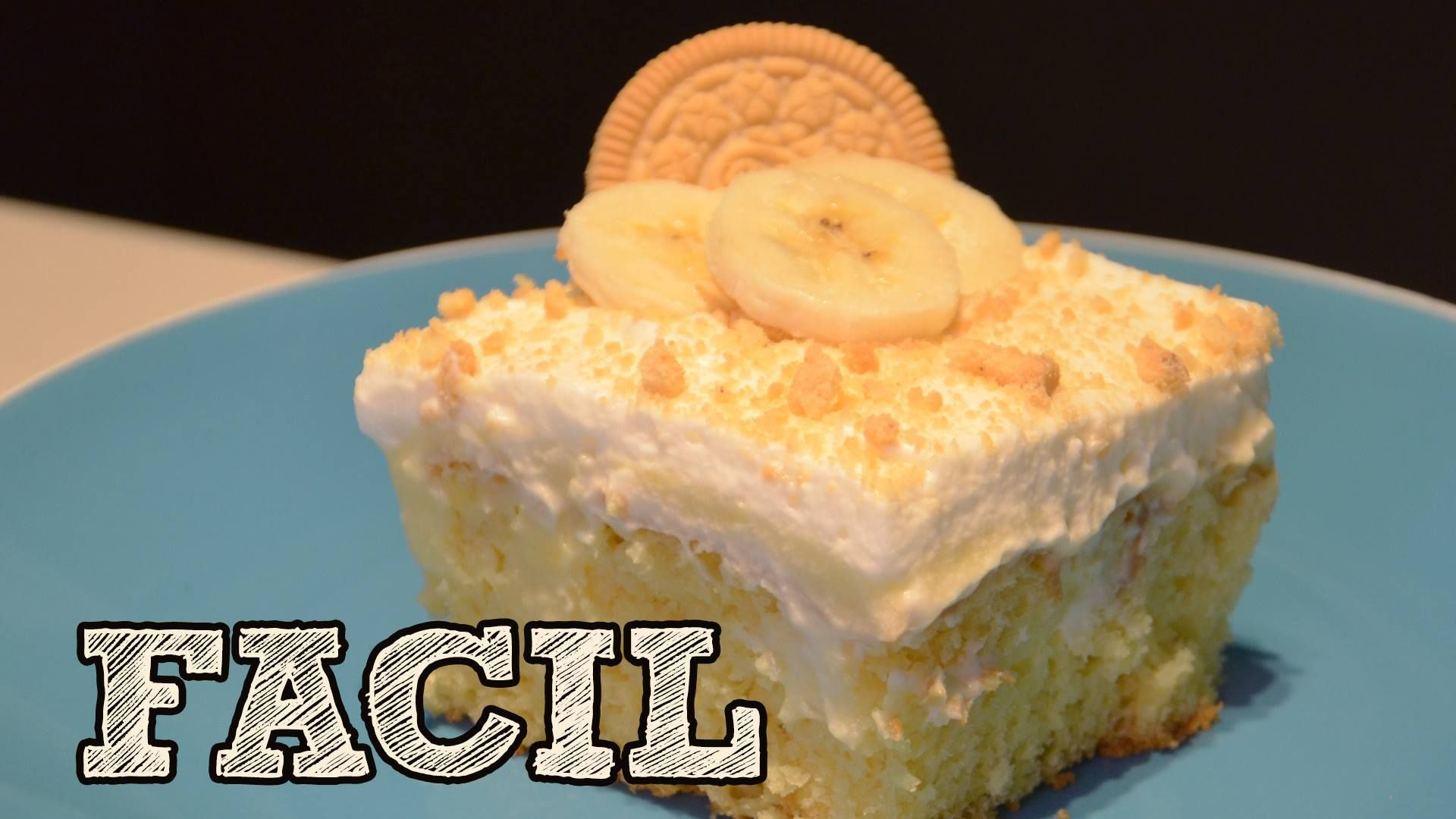Pastel tradicional pero con pudin de plátano...