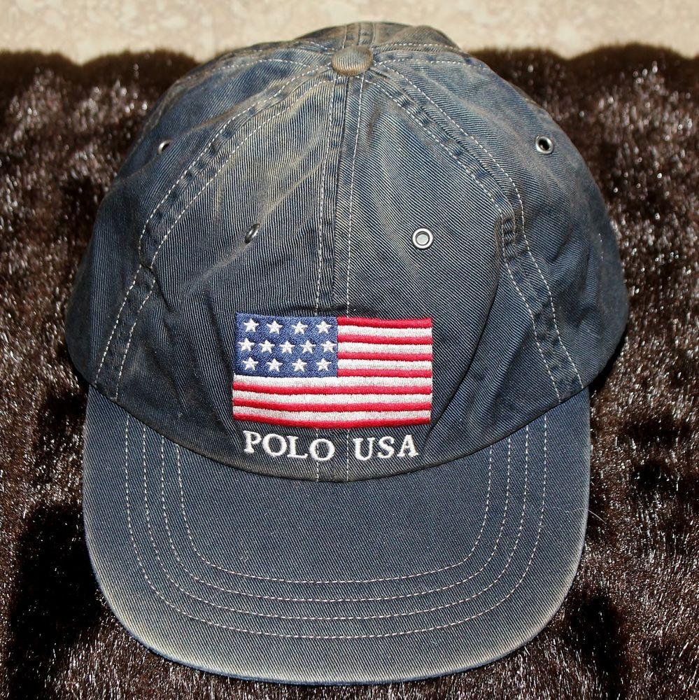 POLO RALPH LAUREN Navy Blue USA FLAG Adjustable One Size BASEBALL HAT Sail  Sport a08684f977
