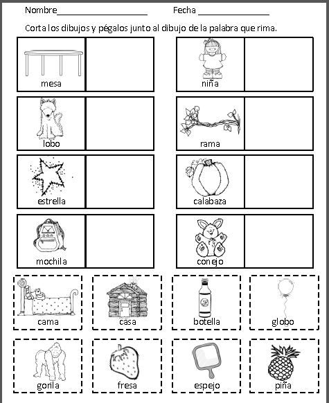 Rimas Hojas de trabajo Spanish rhyming worksheets   material ...