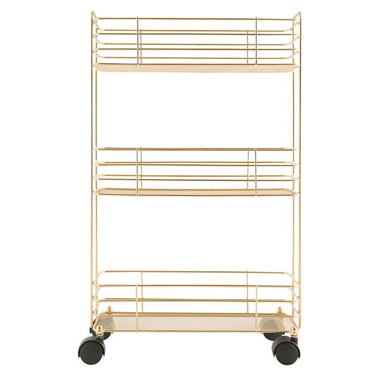 Gold Slim Mesh 3-Tier Cart
