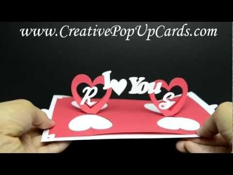 Valentines Day Pop Up Card Twisting Hearts Pop Up Card Templates Heart Pop Up Card Diy Projects For Boyfriend