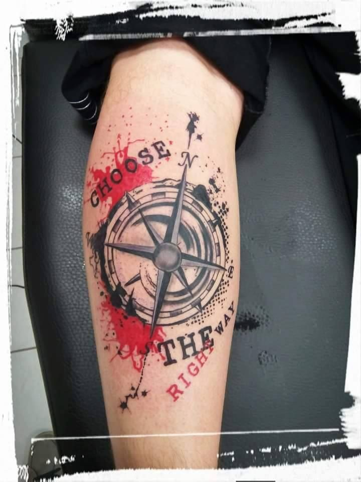 d8f3fc41f Compass tattoo by Arnost! Limited availability at Revival Tattoo Studio.