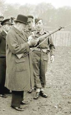 Sir Winston Churchill with an Enfield in .303 British. note fixed bayonet